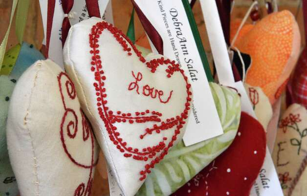 Art Hearts by Debra Ann Salat at the The Katbird Shop in Schenectady Tuesday Nov. 13, 2012.  (John Carl D'Annibale / Times Union) Photo: John Carl D'Annibale / 00020070A
