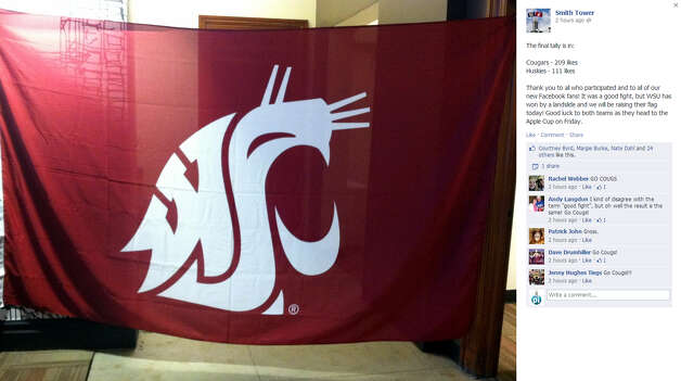 The Cougar flag will fly atop Seattle's historic Smith Tower after a Facebook contest between Huskies and Washington State fans. Photo: Smith Tower Facebook Page