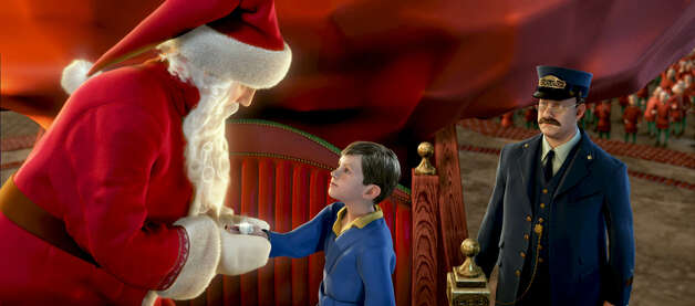 "The boy meets Santa in this scene from Warner Bros.' ""The Polar Express,"" in this undated promotional photo for the new animated movie starring Tom Hanks in several voiced roles. (AP Photo/Warner Bros.) / Beaumont"