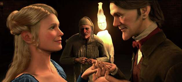 "In this film publicity image released by Disney, from left, Belle, voiced by Robin Wright Penn, Ebenezer Scrooge, voiced by Jim Carrey and Fred, voiced by Colin Firth are  shown in a scene from ""A Christmas Carol.""  (AP Photo/Disney, ImageMovers Digital LLC) Photo: ImageMovers Digital LLC., HO / Beaumont"