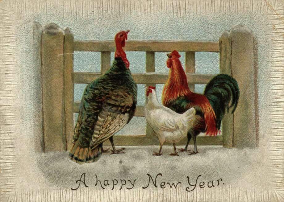 A turkey, cockerel and chicken are featured on a New Year's greetings card, circa 1880. Photo: Hulton Archive, Getty Images / Hulton Archive