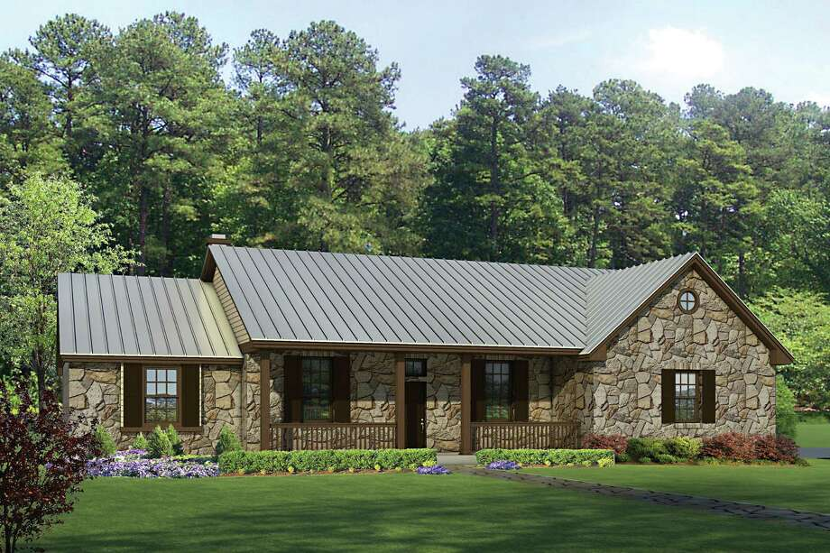 In this rendering released by Homeplans.com, House of the Week-HMAFAPW1716 shows a three-bedroom, two bath Texas Hill Country Split-Bedroom home with a porch to welcome guests inside. (AP Photo/Homeplans.com) Photo: Associated Press / Homeplans.com
