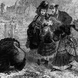 A prosperous looking family takes a closer look at a particularly plump turkey at a farm in this image dated Dec. 1, 1871.