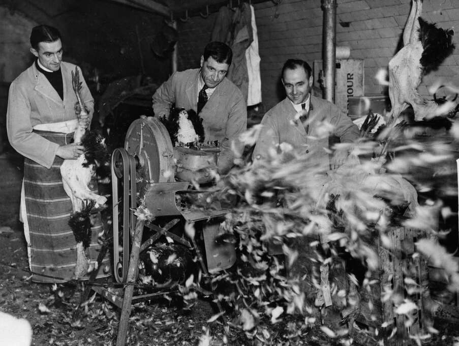 Staff at the poultry department of Spiers and Ponds, London, preparing turkeys for the Christmas market on Dec. 21, 1938. Photo: Hulton Archive, Getty Images / Hulton Archive