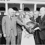 President Harry Truman receives a Thanksgiving turkey from members of the Poultry and Egg National Board and other representatives of the turkey industry, outside the White House, on Nov. 16, 1949.