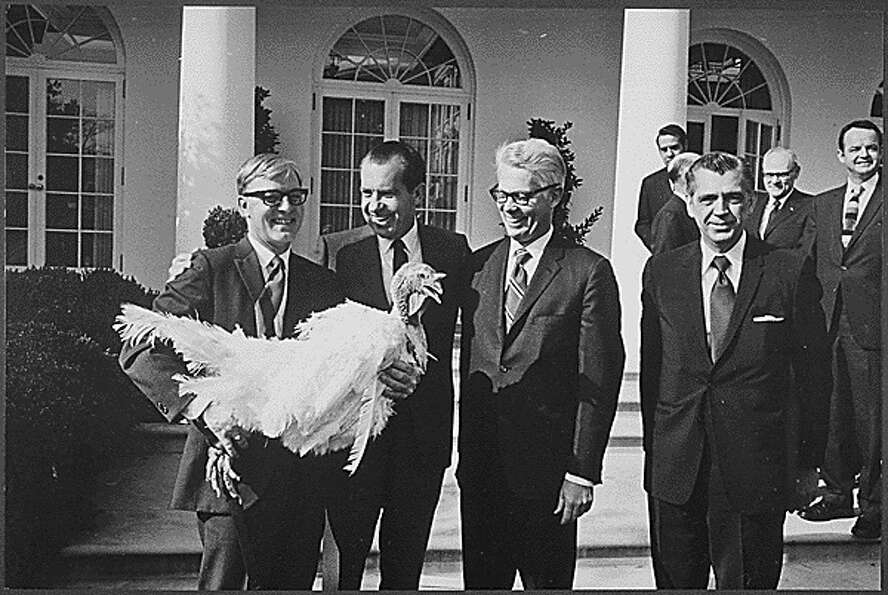 A turkey is presented to President Richard Nixon on Nov. 18, 1969.