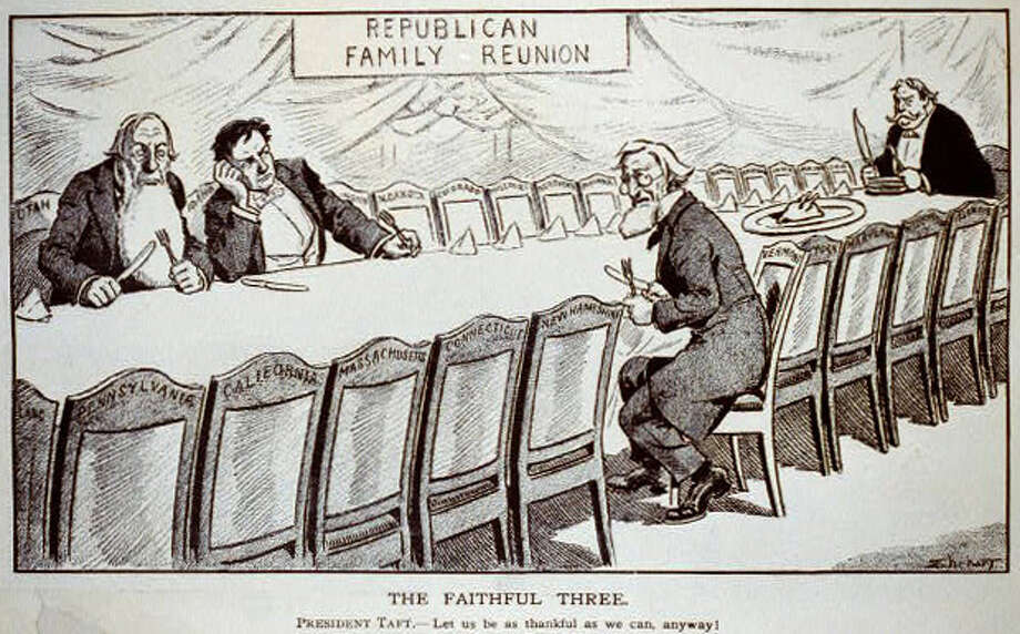 "While not the national bird, turkeys continued to have a role in political discussion. This illustration shows lame-duck President William Howard Taft holding a large carving knife, sitting at a long table around which are chairs labeled with the states of the United States; three men are sitting in chairs labeled ""Utah,"" ""Idaho"" and ""Vermont."" There is a tiny turkey on a large platter on the table, and a sign on the wall states ""Republican Family Reunion."" Taft finished third behind Democrat Woodrow Wilson and Progressive Theodore Roosevelt in the 1912 presidential election, winning only Vermont and Utah. It's not clear why Idaho, which went for Wilson, is at the table. Photo: Samuel Ehrhart/Keppler & Schwarzmann (Library Of Congress)"