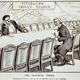 "While not the national bird, turkeys continued to have a role in political discussion. This illustration shows lame-duck President William Howard Taft holding a large carving knife, sitting at a long table around which are chairs labeled with the states of the United States; three men are sitting in chairs labeled ""Utah,"" ""Idaho"" and ""Vermont."" There is a tiny turkey on a large platter on the table, and a sign on the wall states ""Republican Family Reunion."" Taft finished third behind Democrat Woodrow Wilson and Progressive Theodore Roosevelt in the 1912 presidential election, winning only Vermont and Utah. It's not clear why Idaho, which went for Wilson, is at the table."