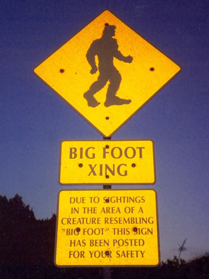 This sign on the Pikes Peak highway in Colorado is sure to put Sasquatch spotters at ease. Photo: John Yang, Signspotting.com / Handout website