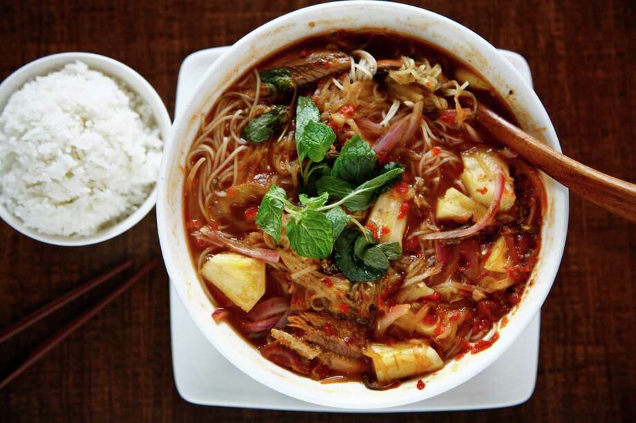 Penang Assam Laksa noodle soupPenang Assam Laksa noodle soup Photo: Michael Paulsen, Staff / Houston Chronicle