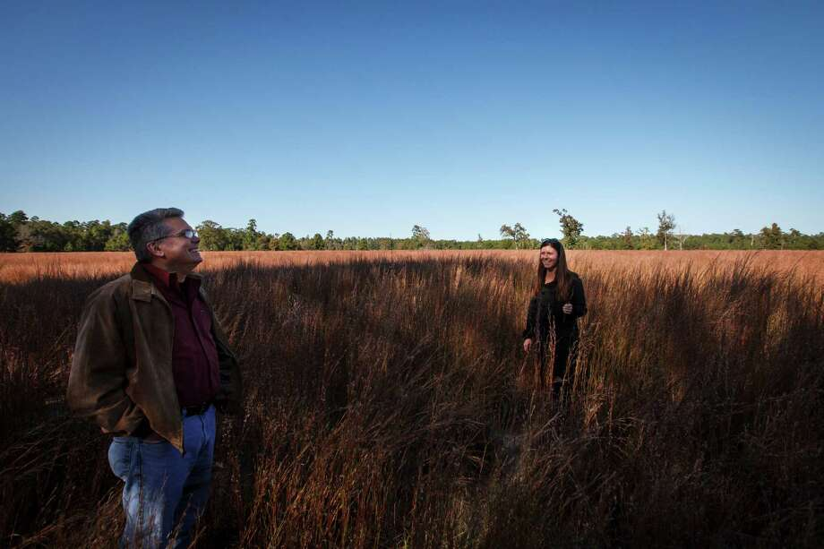 Sarah Mitchell, executive director of the Cook's Branch Conservancy, right, stands in a field of Little Bluestem grass with Joe Hamrick, a project manager with Raven Environmental Services, left, while at the 5,650 acres in Montgomery County north of Houston, Wednesday, Nov. 14, 2012, in Montgomery. Photo: Michael Paulsen, Houston Chronicle / © 2012 Houston Chronicle