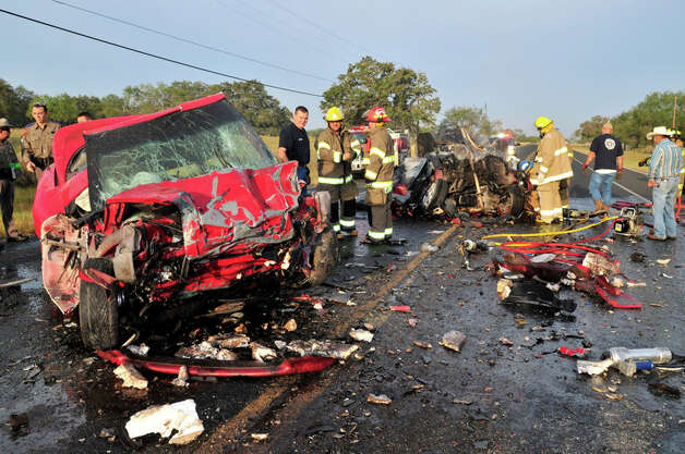 Two people are dead were killed in a two-vehicle crash in Atascosa County on Wednesday morning. A Department of Public Safety spokesman said the head-on collision happened about 7 a.m. on FM 476 near Rogers Road, just outside of Poteet. Investigators said a man driving a 1997 Pontiac was driving west on FM 476,  when he veered into oncoming traffic and crashed head-on into a 1997 Honda. The two people in the Honda died in the crash and the man in the Pontiac was transported by a medical helicopter to University Hospital. Photo: Xavier Garcia, For The Express-News