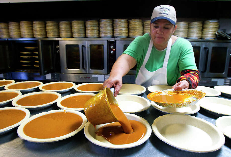 Lilia Medellin prepares pumkin pies at Flying Saucer Pie Co., Wednesday, Nov. 21, 2012, in Houston. Photo: Cody Duty, Houston Chronicle / © 2012 Houston Chronicle