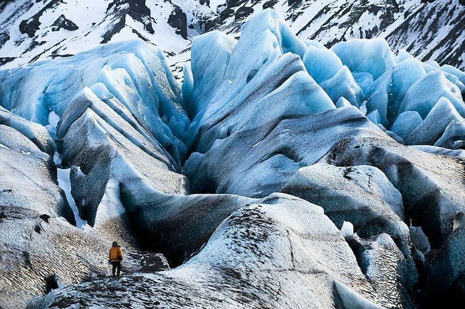 Footage in the documentary on climate change includes this shot on the Svnafellsjkull Glacier in Iceland. Photo: James Balog, National Geographic Channel