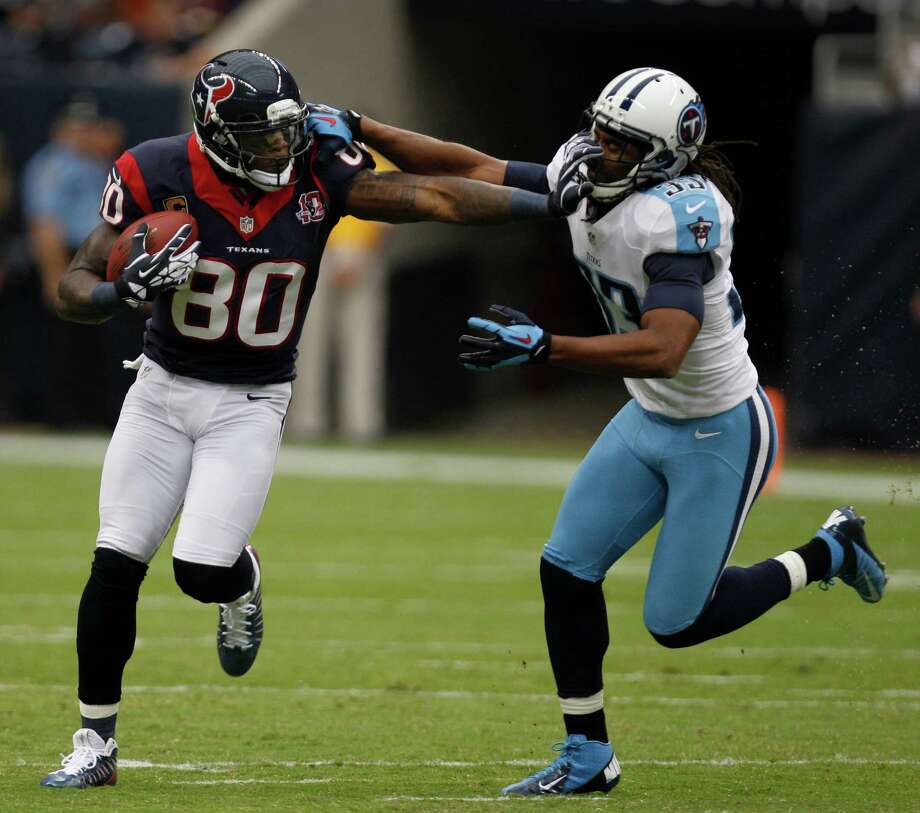 The combination of physical gifts and work ethic have allowed Texans receiver Andre Johnson, left, and Lions counterpart Calvin Johnson to separate themselves from most pass catchers in the NFL. Photo: Brett Coomer, Staff / © 2012  Houston Chronicle