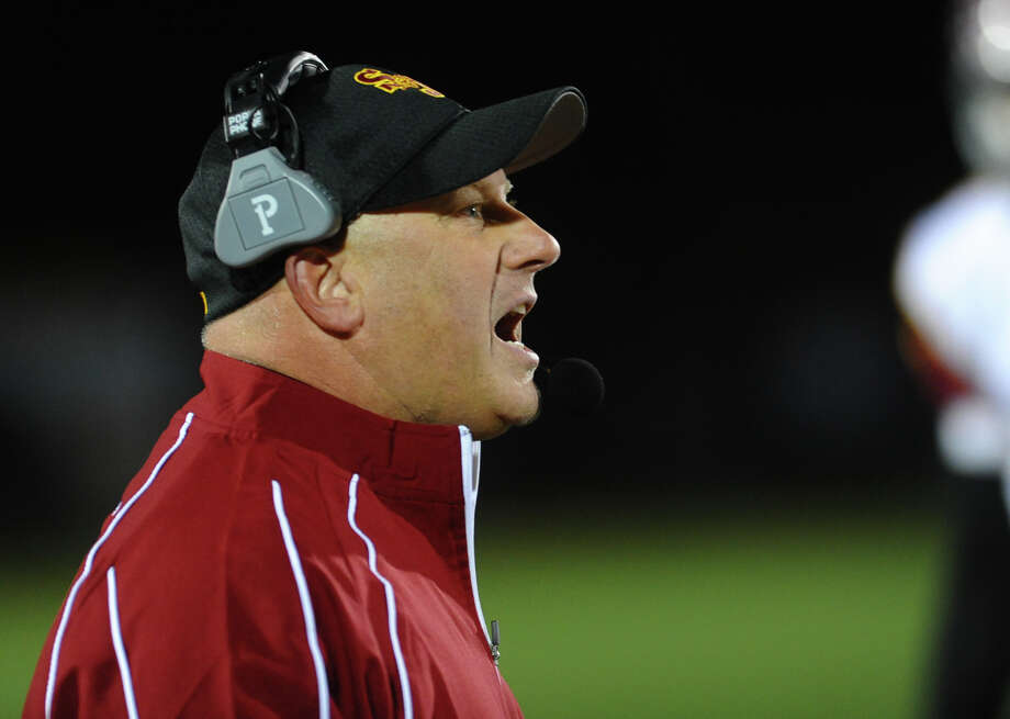 St. Joseph Head Coach Joe Della Vecchia, during boys football action against Trumbull in Trumbull, Conn. on Wednesday November 21, 2012. Photo: Christian Abraham / Connecticut Post