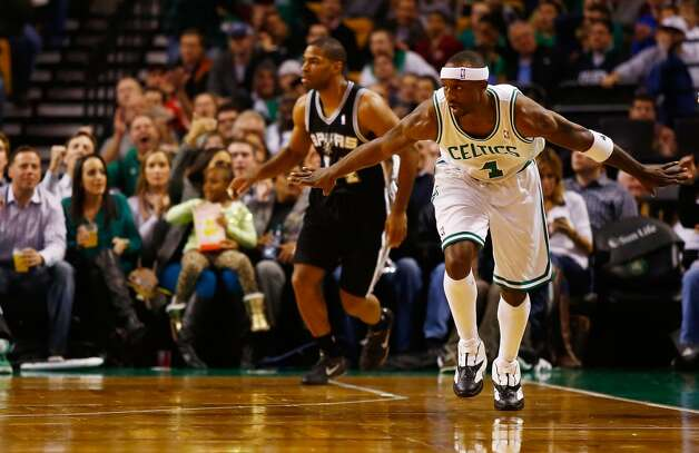 Jason Terry (4) of the Celtics celebrates after hitting a 3-point shot against the Spurs on Nov. 21, 2012 at TD Garden in Boston  (Jared Wickerham / Getty Images)