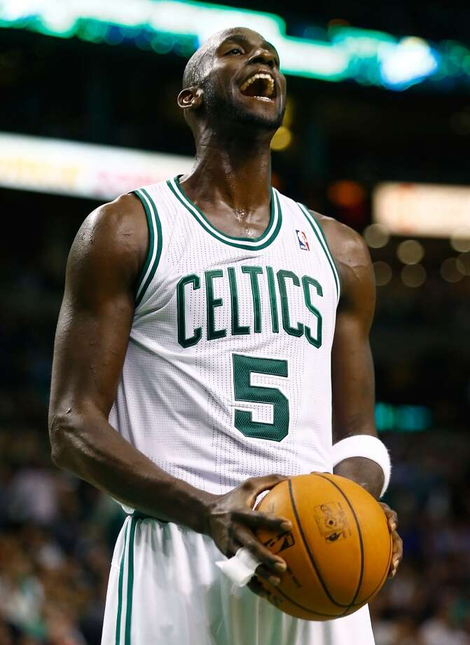 Kevin Garnett (5) of the Celtics reacts after a foul call against the Spurs on Nov. 21, 2012 at TD Garden in Boston. (Jared Wickerham / Getty Images)