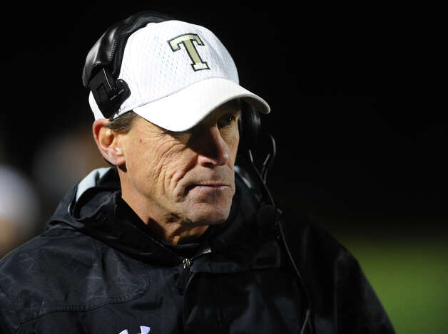 Trumbull Head Coach Bob Maffei, during boys football action against St. Joseph in Trumbull, Conn. on Wednesday November 21, 2012. Photo: Christian Abraham / Connecticut Post