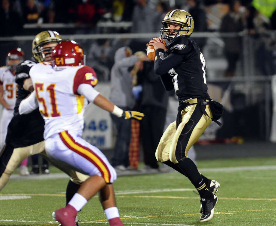 Boys football action between Trumbull and St. Joseph in Trumbull, Conn. on Wednesday November 21, 2012. Photo: Christian Abraham / Connecticut Post