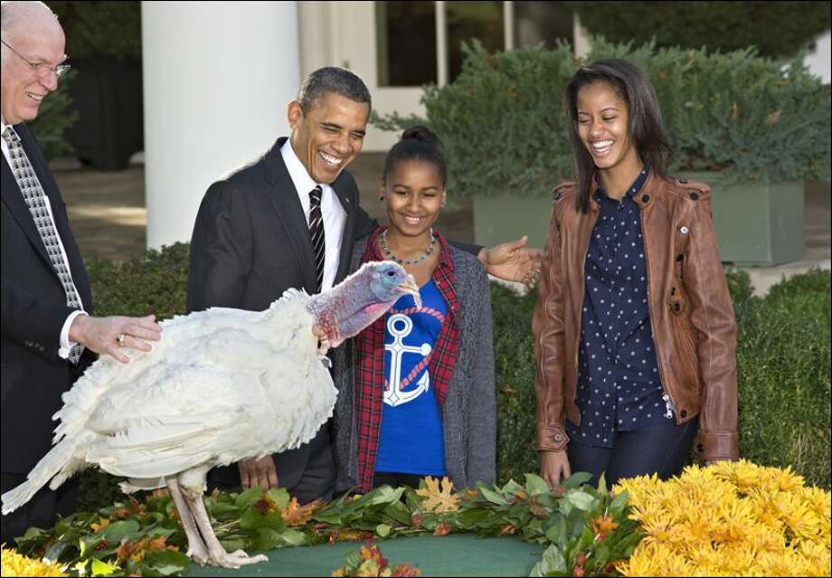 "President Barack Obama, with daughters Sasha, center, and Malia, right, carries on the Thanksgiving tradition of saving a turkey from the dinner table with a ""presidential pardon,"" at the White House in Washington, Wednesday, Nov. 21, 2012. After the ceremony, ""Cobbler"" will head to George Washington's historic home in Virginia to be part of the ""Christmas at Mount Vernon"" exhibition. National Turkey Federation Chairman Steve Willardsen is at left. (J. Scott Applewhite / AP Photo)"