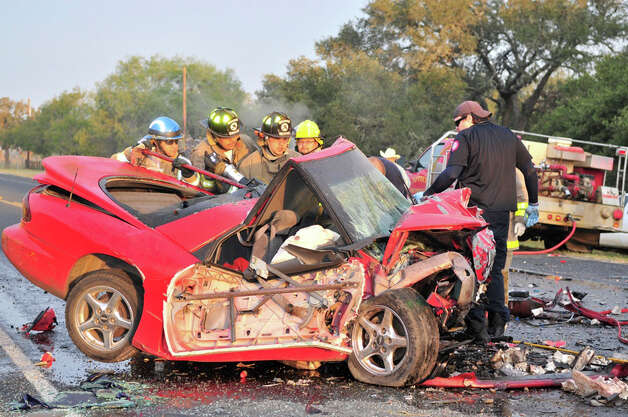 Two people are dead were killed in a two-vehicle crash in Atascosa County on Wednesday morning. A Department of Public Safety spokesman said the head-on collision happened about 7 a.m. on FM 476 near Rogers Road, just outside of Poteet. Investigators said a man driving a 1997 Pontiac was driving west on FM 476,  when he veered into oncoming traffic and crashed head-on into a 1997 Honda, KSAT reported. The two people in the Honda died in the crash and the man in the Pontiac was transported by a medical helicopter to University Hospital. Photo: Xavier Garcia, For The Express-News