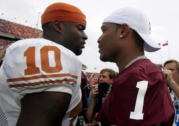 With Reggie McNeal (right) sidelined with an injury, Stephen McGee and the Aggies almost pulled off one of the biggest upsets in series history. However, Vince Young and Longhorns wouldn't be denied as they held on to win 40-29 en route to claiming the national championship in 2006.