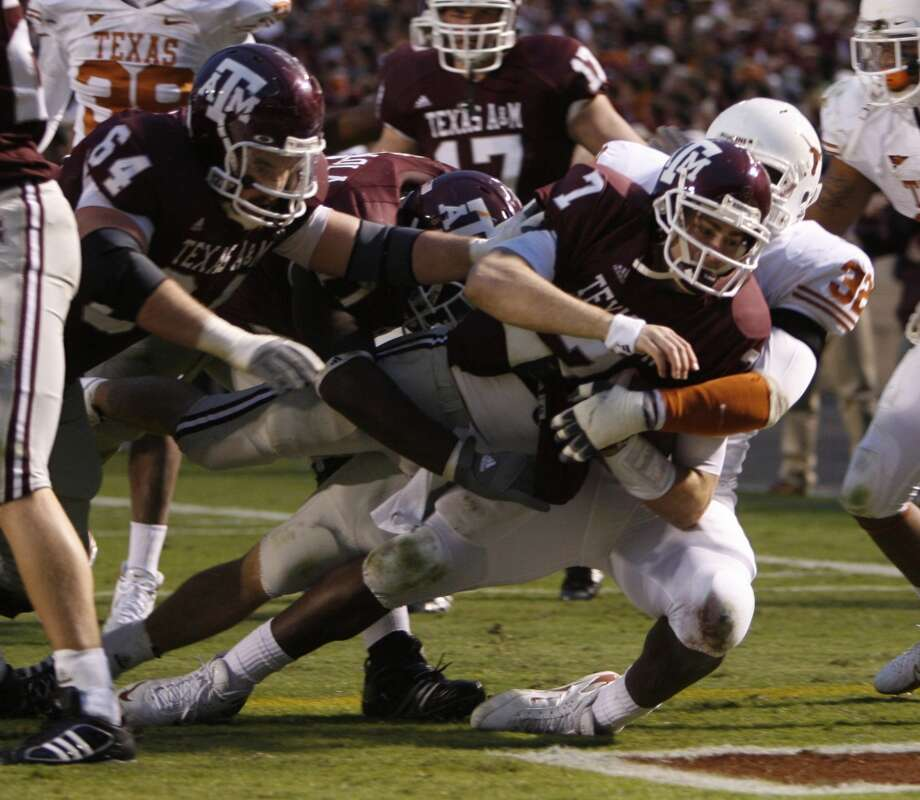 2007Texas A&M 38, Texas 30Quarterback Stephen McGee threw for 362 yards and three touchdowns and ran another score in the victory. (Kevin Fujii / Chronicle)