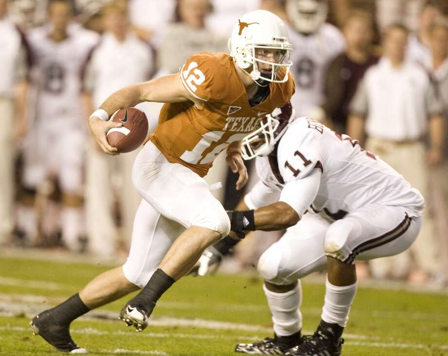 2008Texas 49, Texas A&M 9Quarterback Colt McCoy passed for two touchdowns and ran for two more as the Longhorns posted the largest margin of victory in the rivalry since a 48-0 UT win in 1898. (Nick de la Torre / Chronicle)