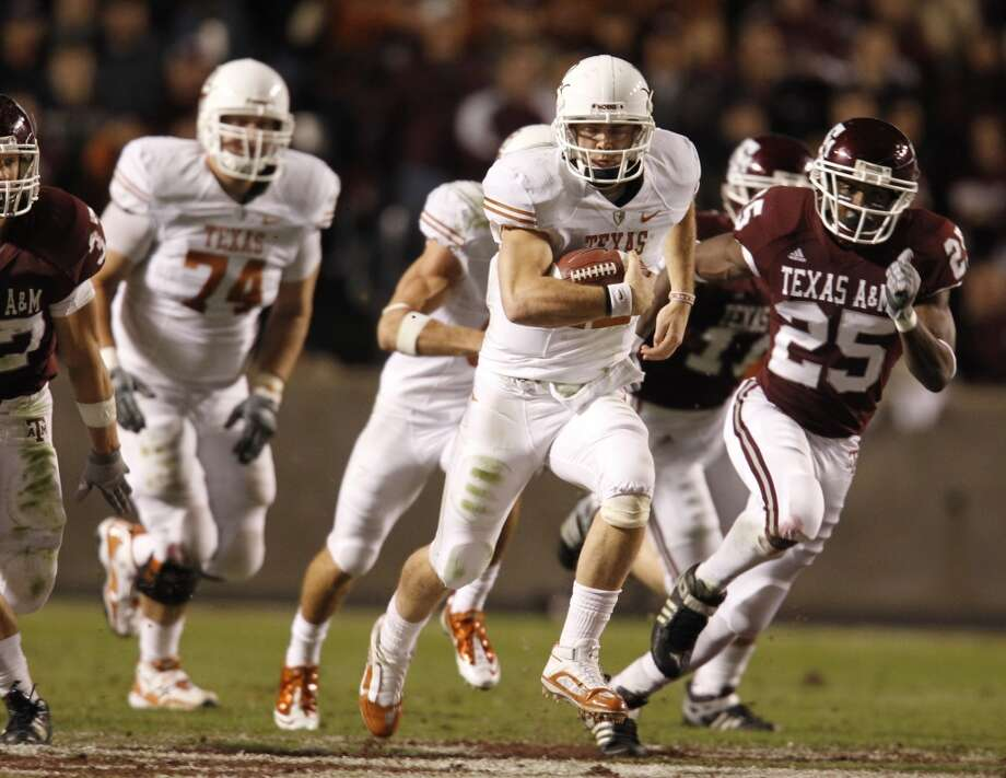 2009Texas 49, Texas A&M 39Colt McCoy passed for 304 yards and ran for 175 yards to get the best of Aggies signal-caller Jerrod Johnson in a shootout. (Karen Warren / Chronicle)