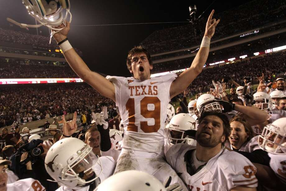2011Texas 27, Texas A&M 25Kicker Justin Tucker booted a 40-yard field goal as time expired to give the Longhorns a narrow win in the series finale. (Brett Coomer / Chronicle)