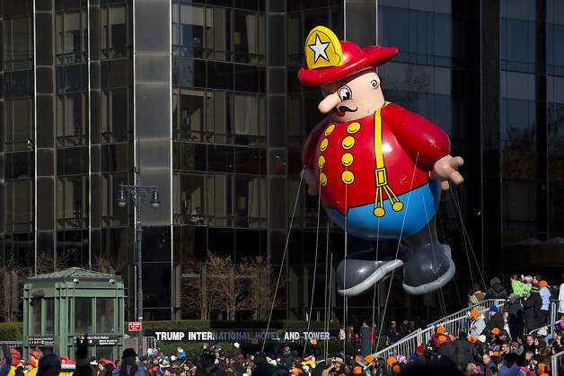 The Harold the Fireman balloon makes its way through Columbus Circle during the 86th Annual Macy's Thanksgiving Day Parade on November 22, 2012 in New York City. Photo: Andrew Kelly, Getty Images