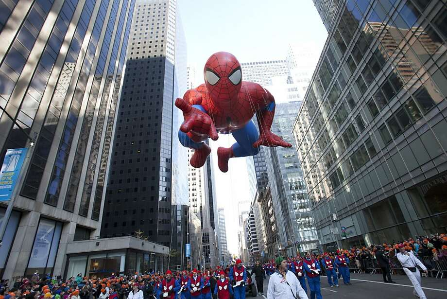 The Spiderman balloon makes its way down Sixth Avenue during the 86th Annual Macy's Thanksgiving Day Parade on November 22, 2012 in New York. Photo: Andrew Kelly, Getty Images