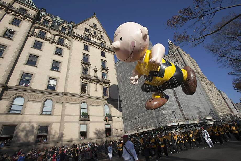 The Charlie Brown balloon makes its way down Central Park West during the 86th Annual Macy's Thanksgiving Day Parade November 22, 2012 in New York City. Macy's donated tickets and transportation to this year's Thanksgiving Day Parade to 5,000 people from neighborhoods hardest hit by Superstorm Sandy. Photo: Andrew Kelly, Getty Images