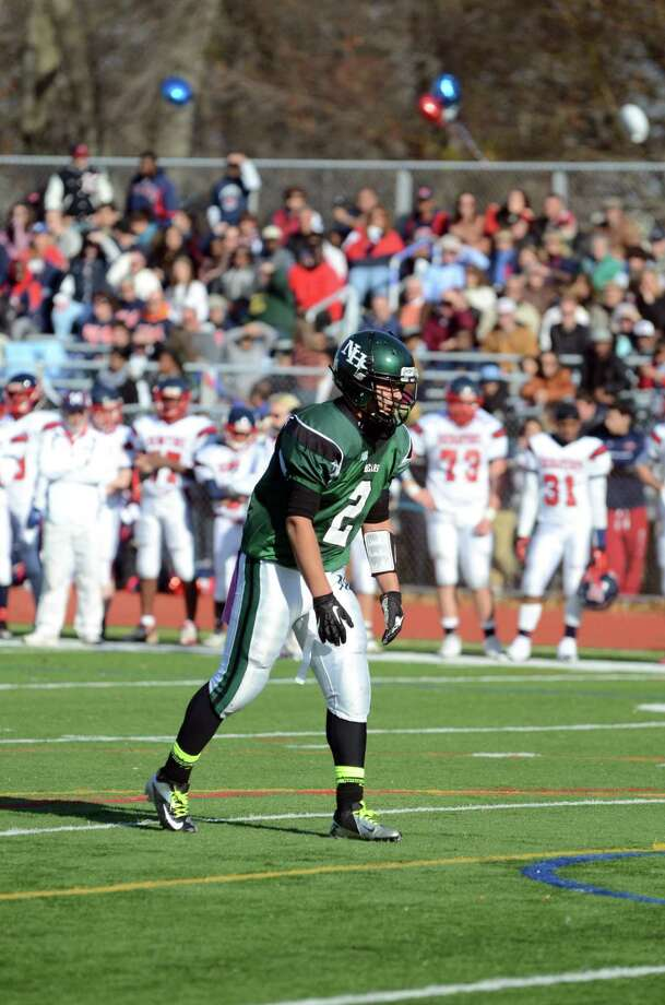 Norwalk's Andy Lovo (2) on the field as Norwalk hosts Brien McMahon High School during the Thanksgiving Day football game on Thursday, Nov. 22, 2012. Photo: Amy Mortensen / Connecticut Post Freelance