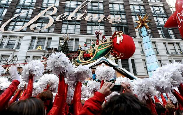 Santa Claus makes his way through Herald Square in  the 86th annual Macy's Thanksgiving Day Parade,Thursday, Nov 22, 2012, in New York.  The annual Macy's Thanksgiving Day Parade kicked off in New York on Thursday, putting a festive mood in the air in a city still coping with the aftermath of Superstorm Sandy. Photo: Louis Lanzano, Associated Press