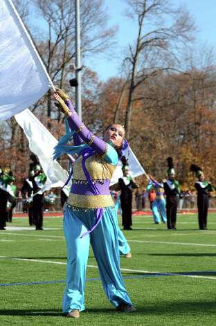 The Norwalk High School marching band performs during the Norwalk vs. Brien McMahon Thanksgiving Day football game on Thursday, Nov. 22, 2012. Photo: Amy Mortensen / Connecticut Post Freelance