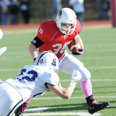 Greenwich running back Mark Bernstein # 35 during the FCIAC championship football game between Staples High School and Greenwich High School at Greenwich, Thursday afternoon, Nov. 22, 2012. Staples defeated Greenwich 48-30 to win the championship. Photo: Bob Luckey / Greenwich Time