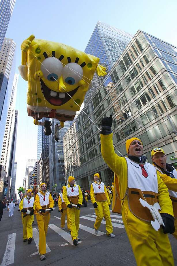 The Spongebob Squarepants balloon makes its way down Sixth Avenue during the 86th Annual Macy's Thanksgiving Day Parade in New York City. Photo: Andrew Kelly, Getty Images