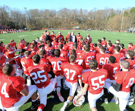 The Greenwich High School football team prior to the FCIAC championship football game between Staples High School and Greenwich High School at Greenwich, Thursday afternoon, Nov. 22, 2012. Staples defeated Greenwich 48-30 to win the championship. Photo: Bob Luckey / Greenwich Time