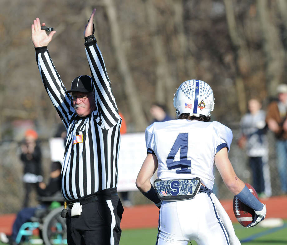 James Frusciante # 4 of Staples just after making a catch for a touchdown during the first quarer of the FCIAC championship football game between Staples High School and Greenwich High School at Greenwich, Thursday afternoon, Nov. 22, 2012. Staples defeated Greenwich 48-30 to win the championship. Photo: Bob Luckey / Greenwich Time