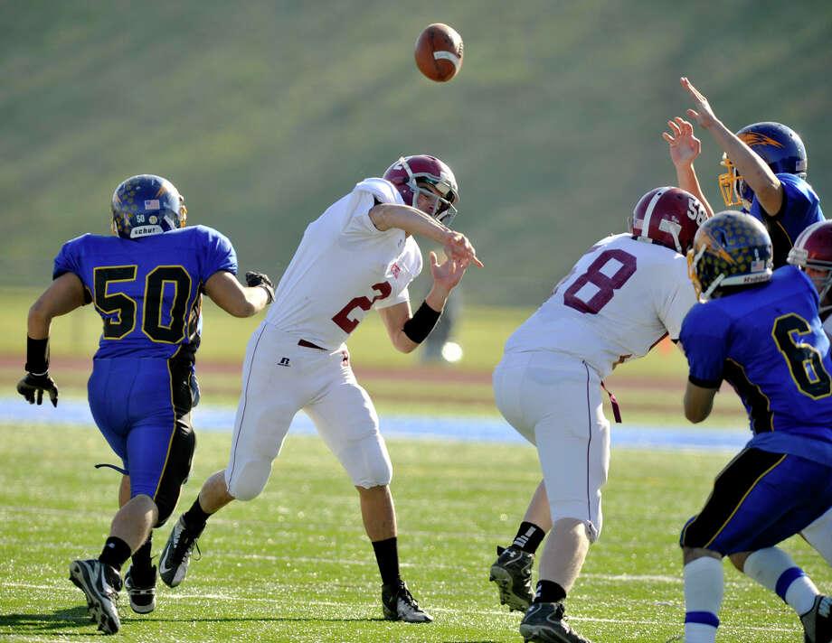 Bethel quarterback Joseph Piatnik throws the ball during their game against Brookfield at Brookfield High School on Thursday, Nov. 22, 2012. Photo: Jason Rearick / The News-Times