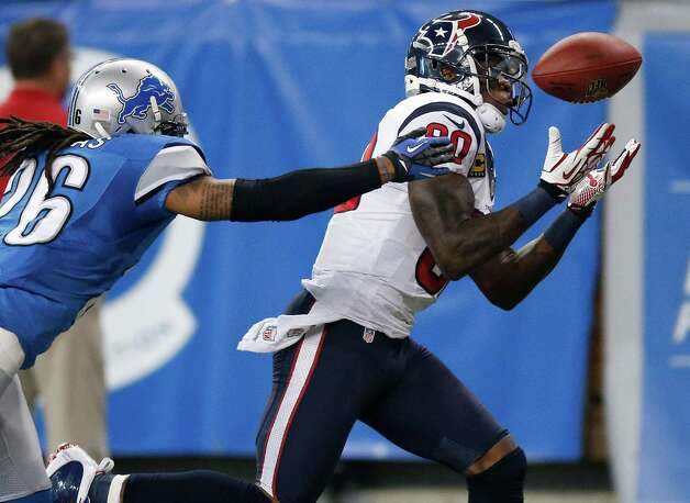 Andre Johnson #80 of the Houston Texans pulls in a second quarter catch in front of Louis Delmas #26 of the Detroit Lions at Ford Field on November 22, 2012 in Detroit, Michigan. Photo: Gregory Shamus, Getty Images / 2012 Getty Images