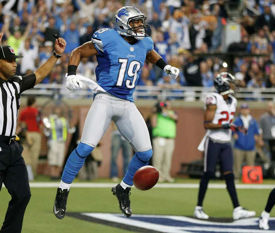 Mike Thomas #19 of the Detroit Lions celebrates a second quarter touchdown while playing the Houston Texans at Ford Field on November 22, 2012 in Detroit, Michigan. Photo: Gregory Shamus, Getty Images / 2012 Getty Images
