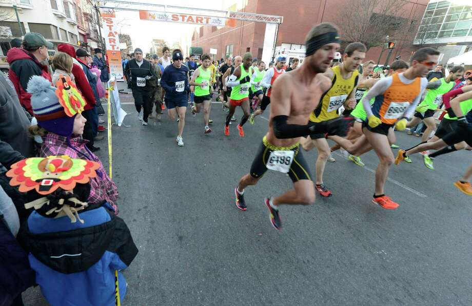 The start of the 10K race in the 65th running of the Troy Turkey Trot in Troy, N.Y. Nov 22, 2012.     (Skip Dickstein/Times Union) Photo: Skip Dickstein / 00020181A
