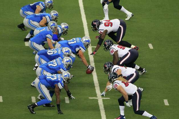 The Detroit Lions and the Houston Texans face off during the first quarter of an NFL football game at Ford Field in Detroit, Thursday, Nov. 22, 2012. (AP Photo/Carlos Osorio) Photo: Carlos Osorio, Associated Press / AP