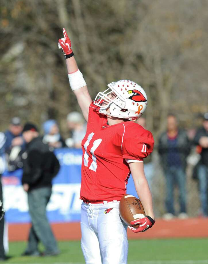 Alex McMurray # 11 of Greenwich afte scoring a rushing touchdwon during the FCIAC championship football game between Staples High School and Greenwich High School at Greenwich, Thursday afternoon, Nov. 22, 2012. Staples defeated Greenwich 48-30 to win the championship. Photo: Bob Luckey / Greenwich Time