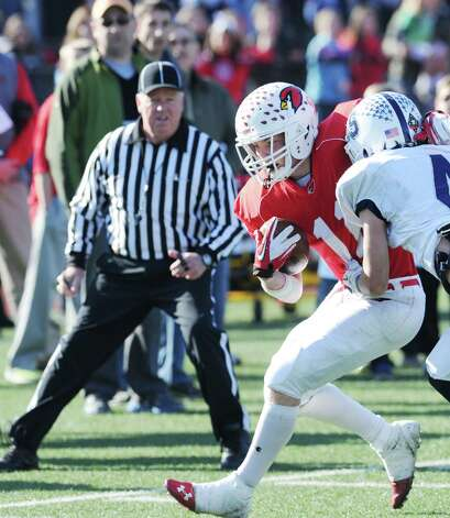 Running back Alex McMurray # 11 of Greenwich during the FCIAC championship football game between Staples High School and Greenwich High School at Greenwich, Thursday afternoon, Nov. 22, 2012. Staples defeated Greenwich 48-30 to win the championship. Photo: Bob Luckey / Greenwich Time