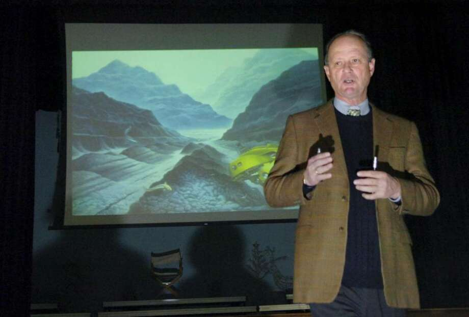 Robert Ballard, one of the most accomplished pioneers of deep-sea exploration, spoke at Brunswick Middle School in Greenwich, CT on Wednesday Dec. 16, 2009. Ballard  is best known for his historic discovery of the sunken R.M.S. Titanic. During his long career, he has conducted more than 120 deep-dive sea expeditions using the latest in exploration technology. Photo: Helen Neafsey / Greenwich Time