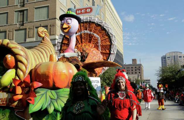 A turkey float moves along the parade route during the 63rd Annual Houston Holiday Parade in downtown Thursday, Nov. 22, 2012, in Houston. Photo: Melissa Phillip, Houston Chronicle / © 2012 Houston Chronicle